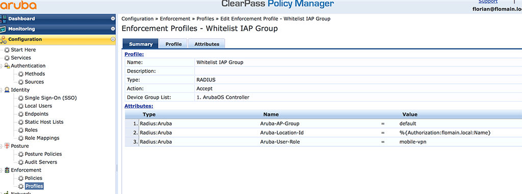 IAP VPN - Enforcement Profile in ClearPass
