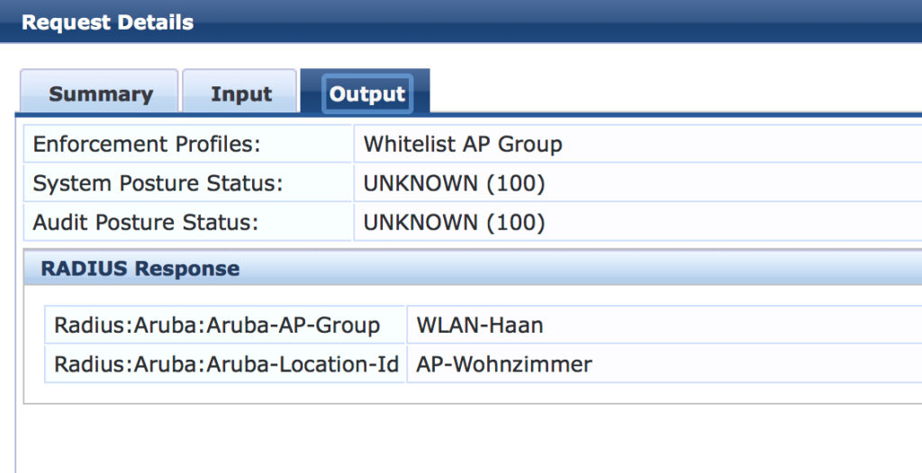Output Details from ClearPass