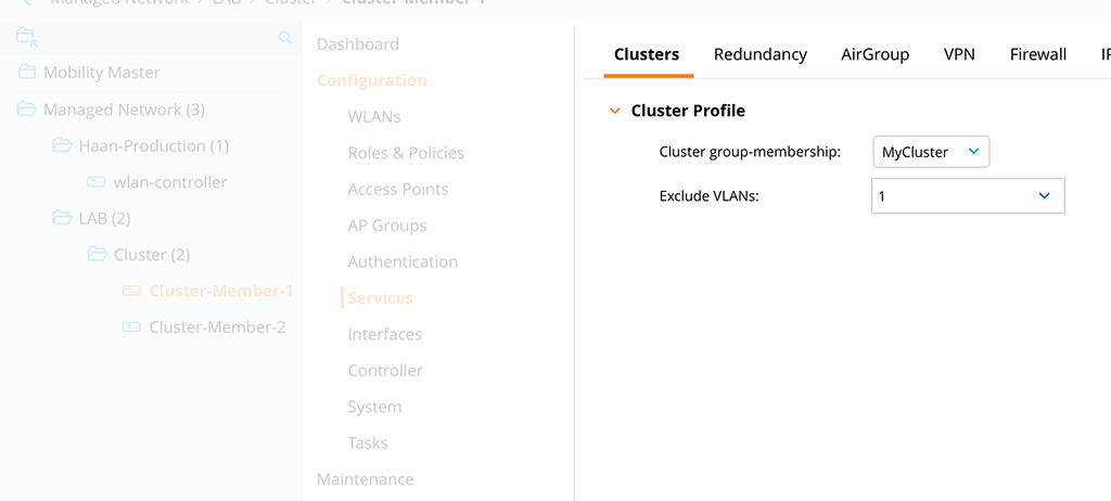 ArubaOS 8 Cluster - Add Cluster Profile to Controller