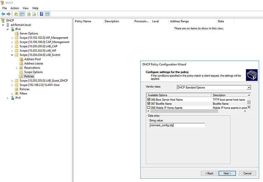 DHCP Vendor Class Identifier - Create Policy Optons