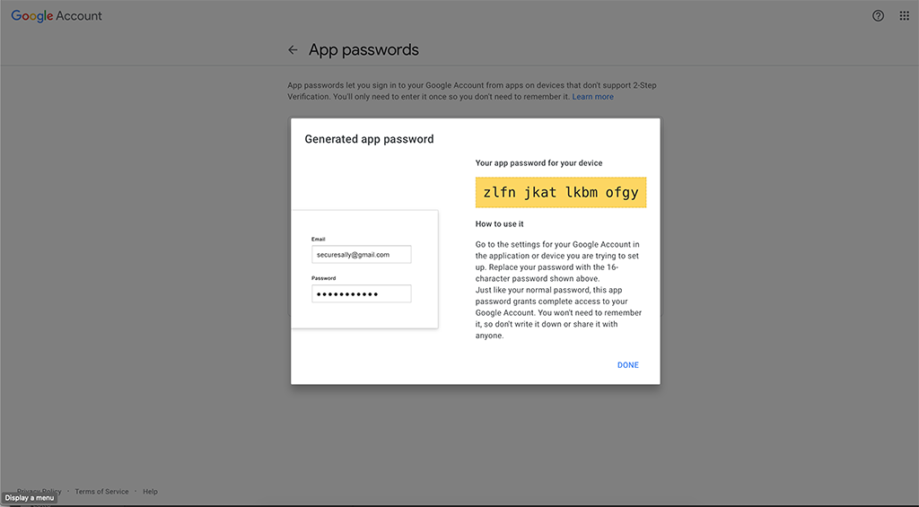 ClearPass with Gmail - App Password