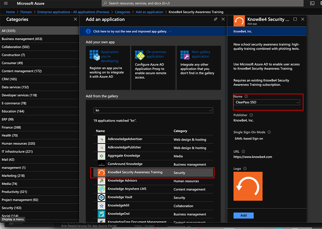 ClearPass SSO with Azure AD - Add Application