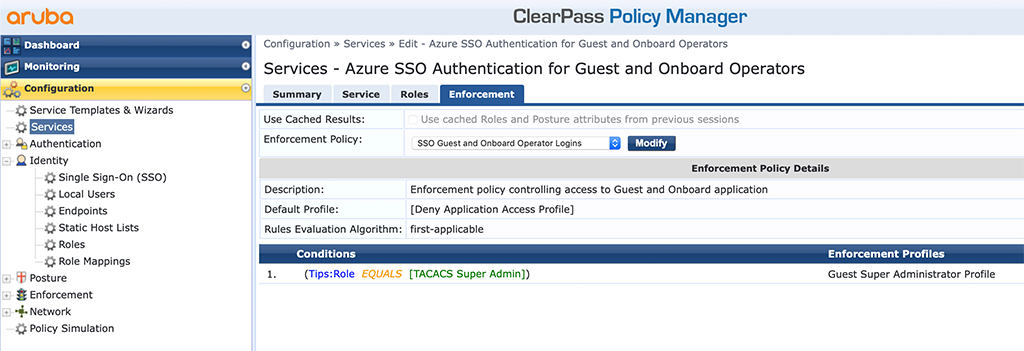 ClearPass SSO with Azure AD - ClearPass Service for Guest and Onboard Operators Enforcement Tab