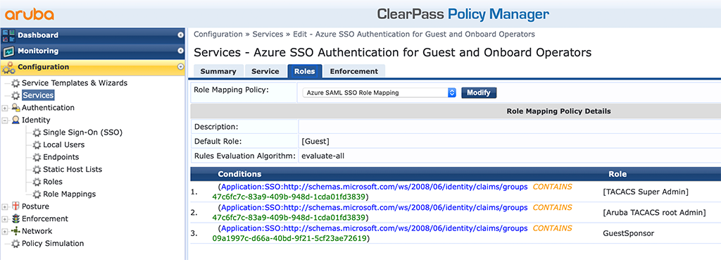 ClearPass SSO with Azure AD - ClearPass Service for Guest and Onboard Operators Roles Tab
