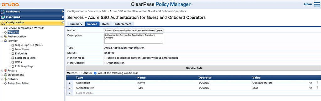 ClearPass SSO with Azure AD - ClearPass Service for Guest and Onboard Operators Service Tab