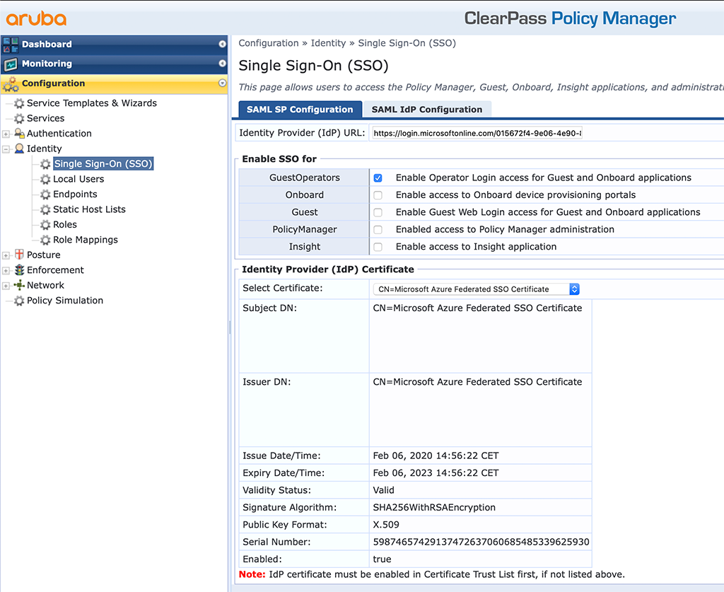 ClearPass SSO with Azure AD - Enable SSO for Guest and Onboard