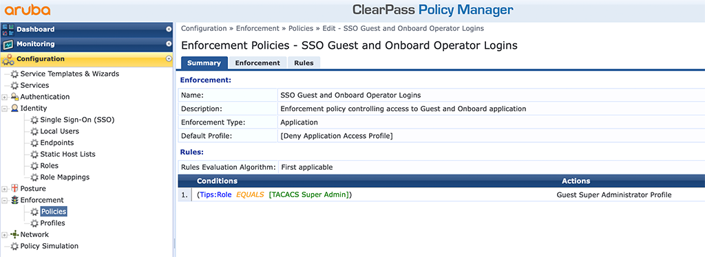 ClearPass SSO with Azure AD - Enforcement Policy