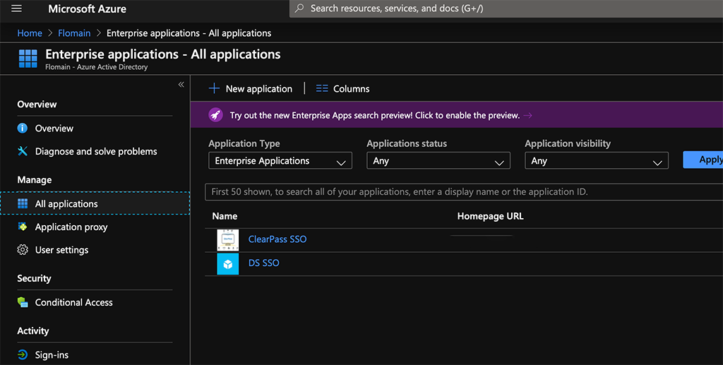 ClearPass SSO with Azure AD - Enterprise Applications