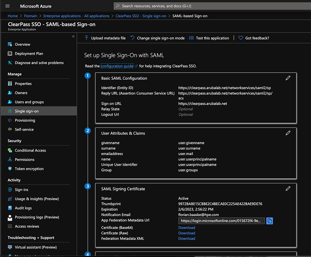 ClearPass SSO with Azure AD - Setup SSO