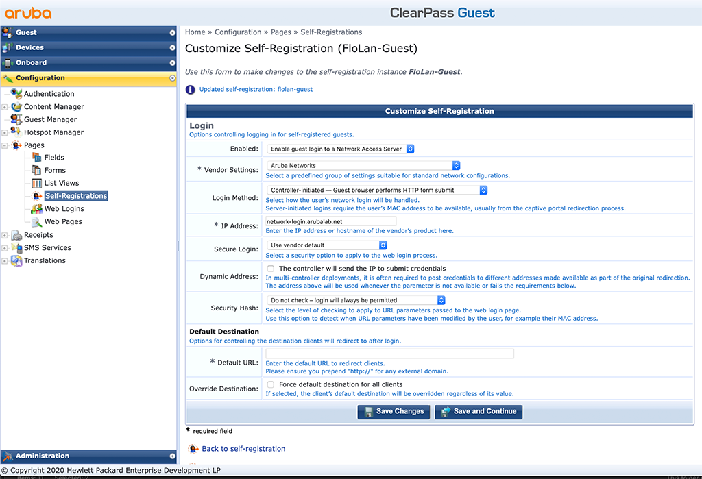 ClearPass Sponsored Guest Login - Create new Self-Registrations Page Login Settings