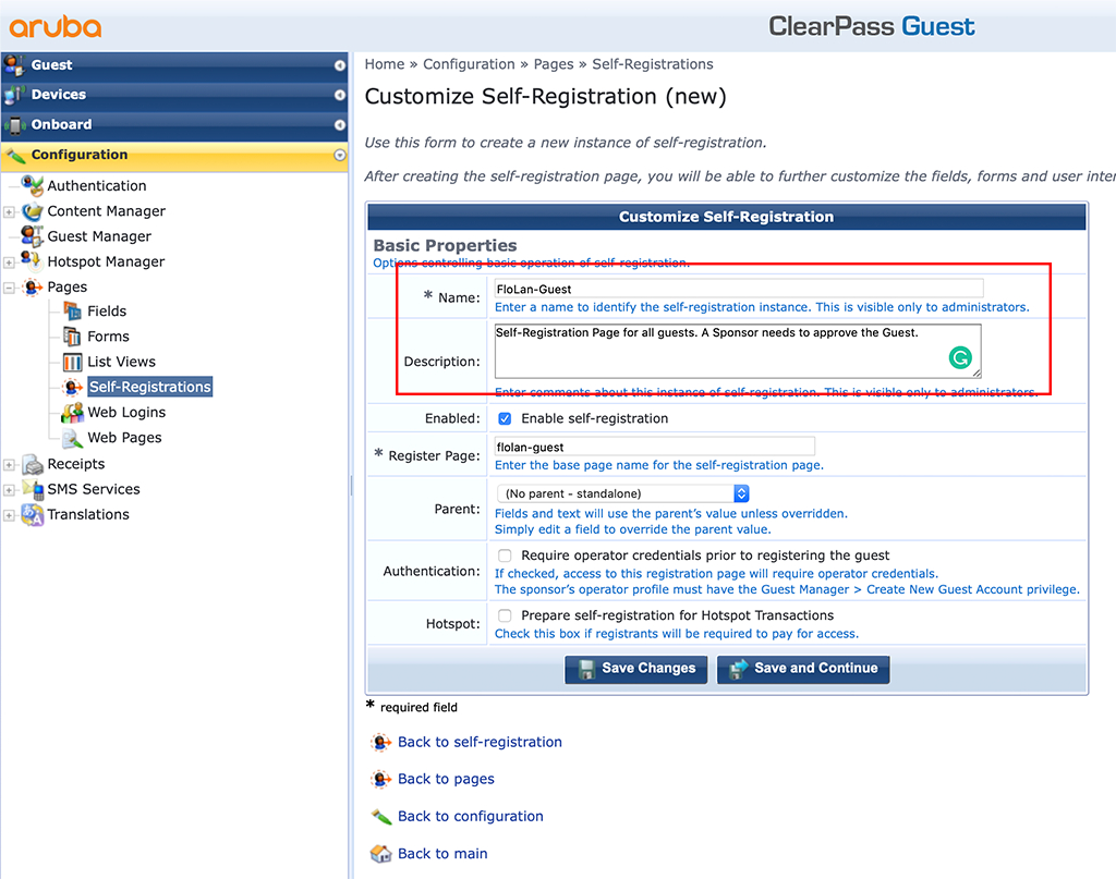 ClearPass Sponsored Guest Login - Create new Self-Registrations Page