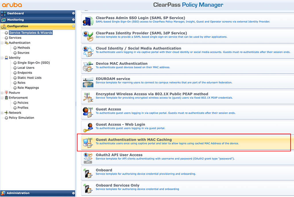 ClearPass Sponsored Guest Login - Guest Caching Wizard