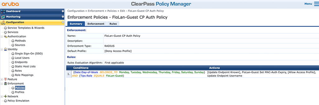 ClearPass Sponsored Guest Login - Guest Captive Portal Enforcement Policy