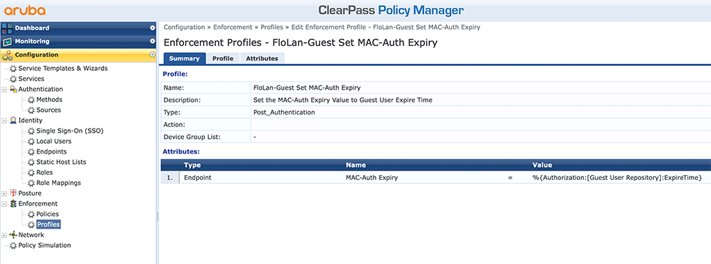 ClearPass Sponsored Guest Login - Guest MAC-Auth-Expiry Profile