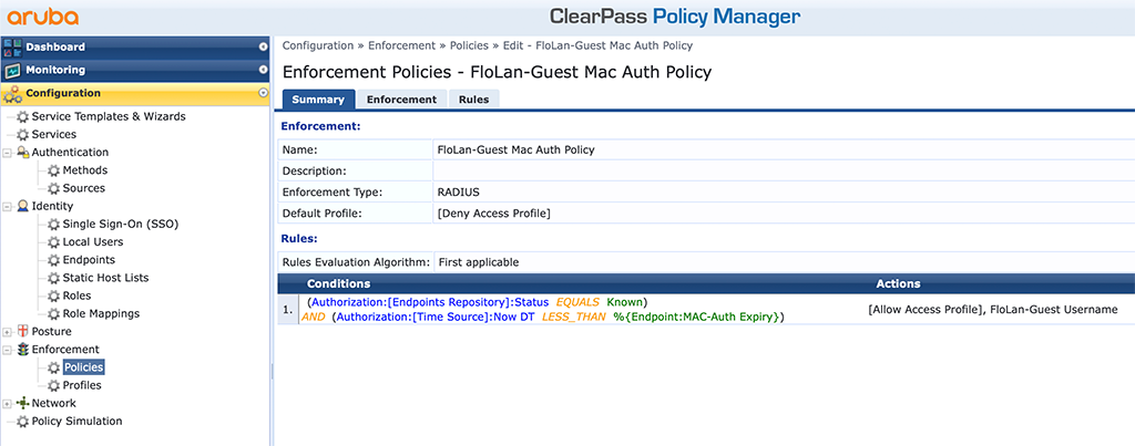 ClearPass Sponsored Guest Login - Guest MAC Enforcement Policy