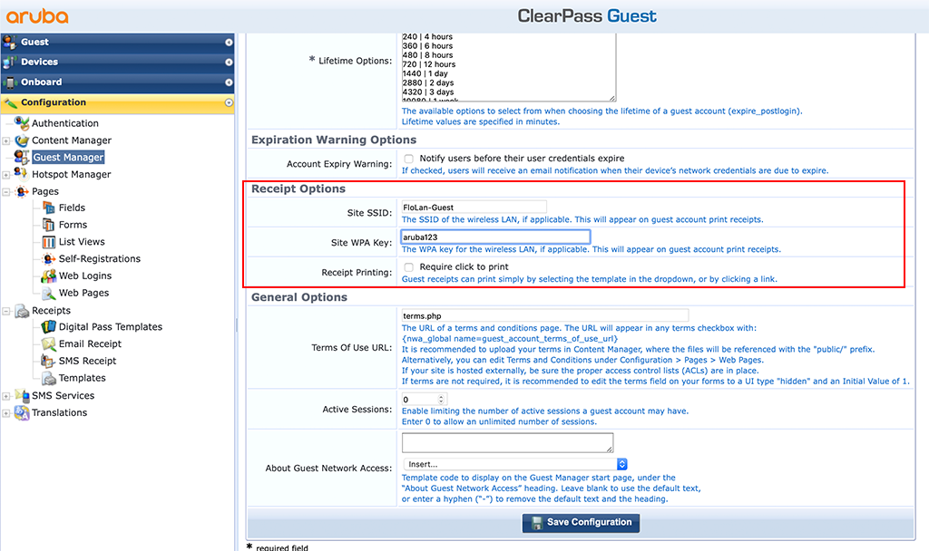 ClearPass Sponsored Guest Login - Guest Manager Settings