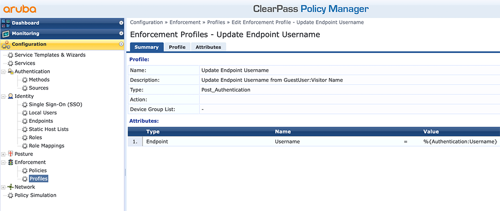 ClearPass Sponsored Guest Login - Set Username Profile
