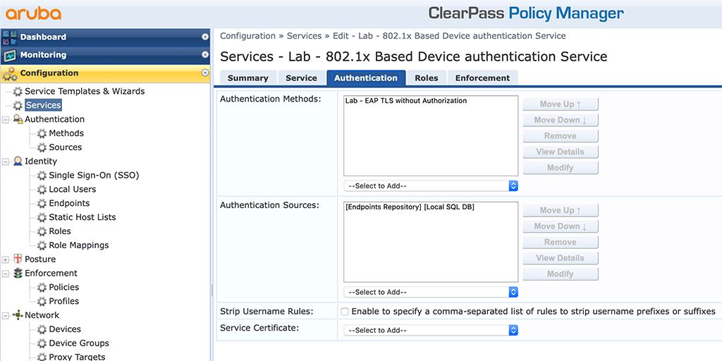 Campus AP Authentication - Add EAP Auth Service Authentication