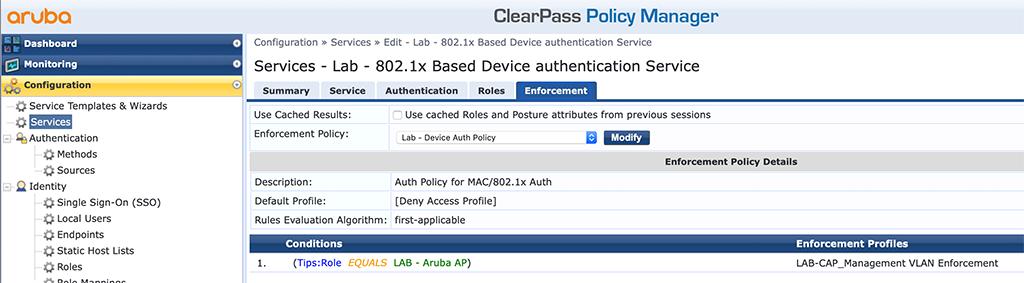Campus AP Authentication - Add EAP Auth Service Enforcement
