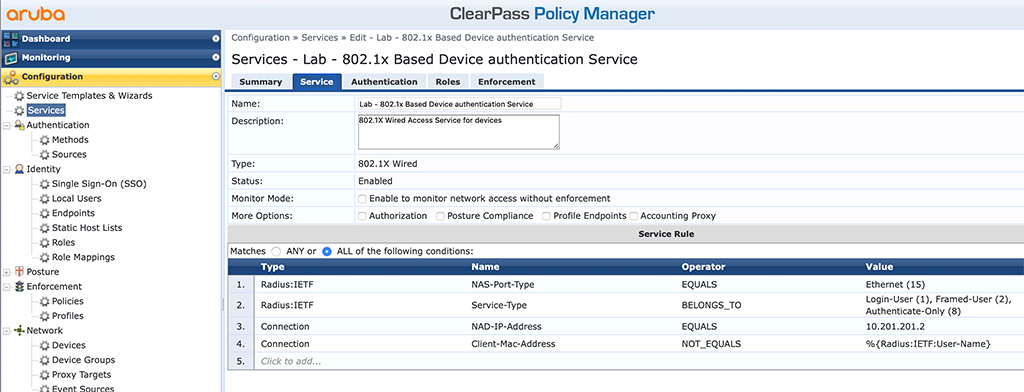Campus AP Authentication - Add EAP Auth Service