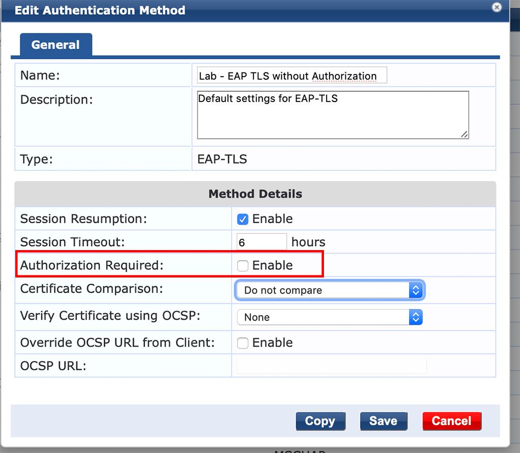 Campus AP Authentication - Add EAP-TLS Method