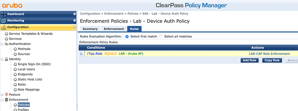 Campus AP Authentication - Add Enforcement Policy Rules with Role Profile