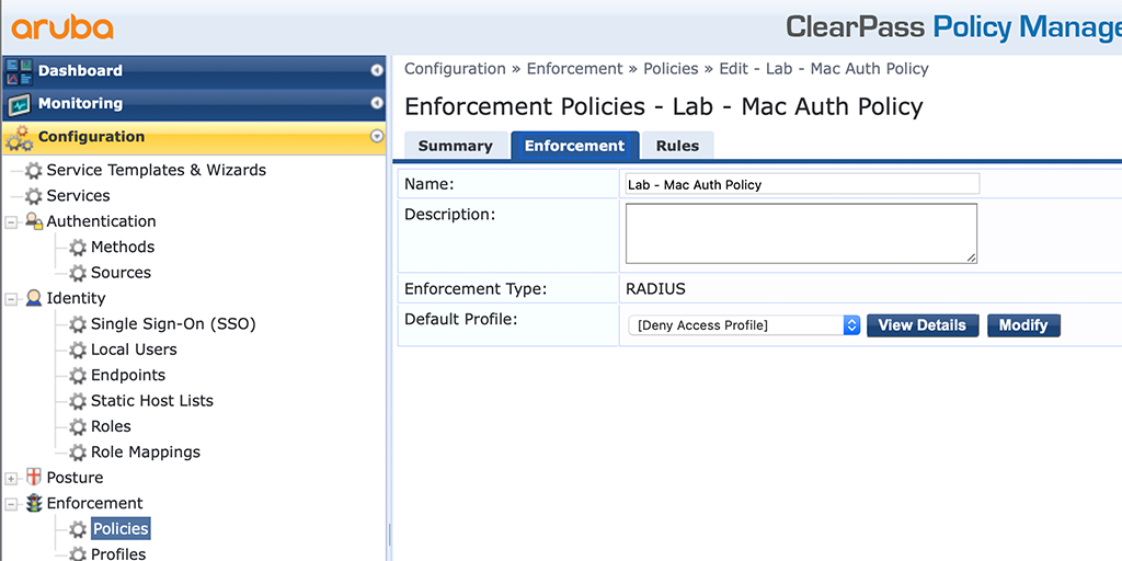 Campus AP Authentication - Add Enforcement Policy
