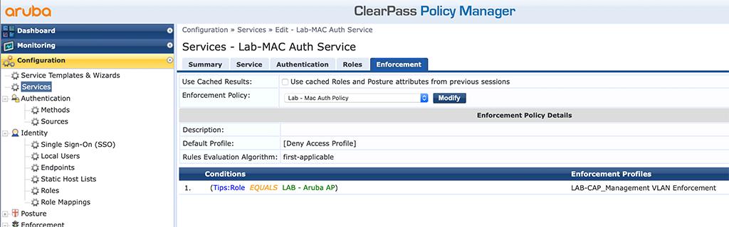 Campus AP Authentication - Add MAC Auth Service Enforcement