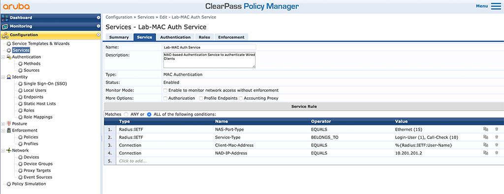 Campus AP Authentication - Add MAC Auth Service