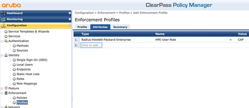Campus AP Authentication - Add Role Enforcement Profile Attributes