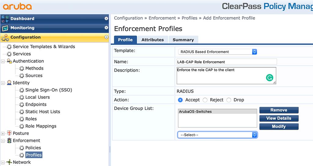 Campus AP Authentication - Add Role Enforcement Profile