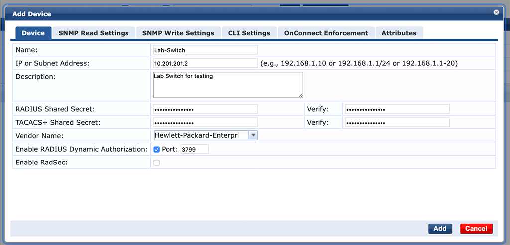 Campus AP Authentication - Add Switch to ClearPass