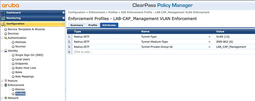 Campus AP Authentication - Add VLAN Enforcement Profile Attributes