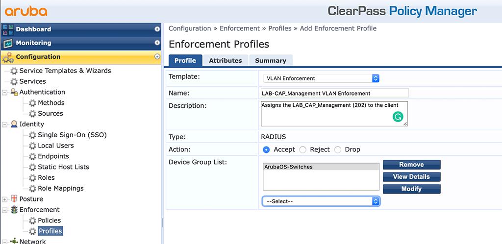 Campus AP Authentication - Add VLAN Enforcement Profile