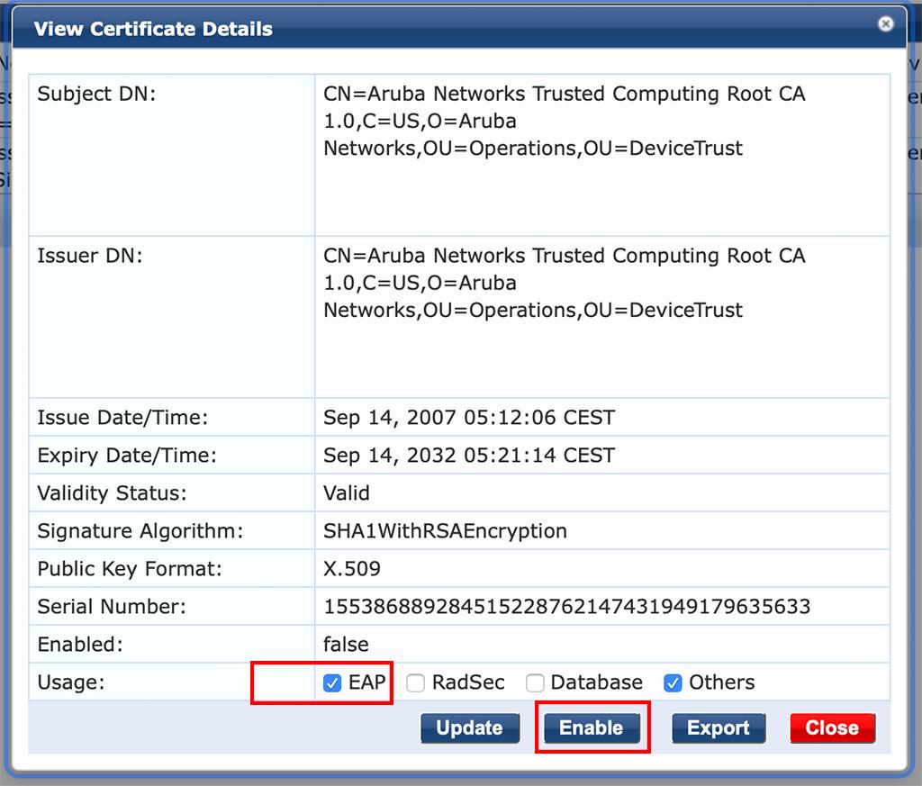 Campus AP Authentication - Enable Aruba Root CA