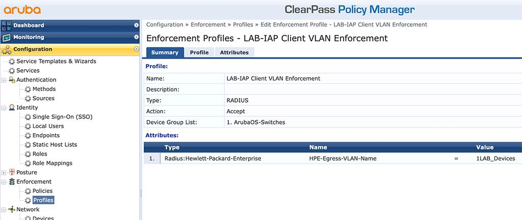 Instant AP Authentication - Add Client VLAN Enforcement Profile