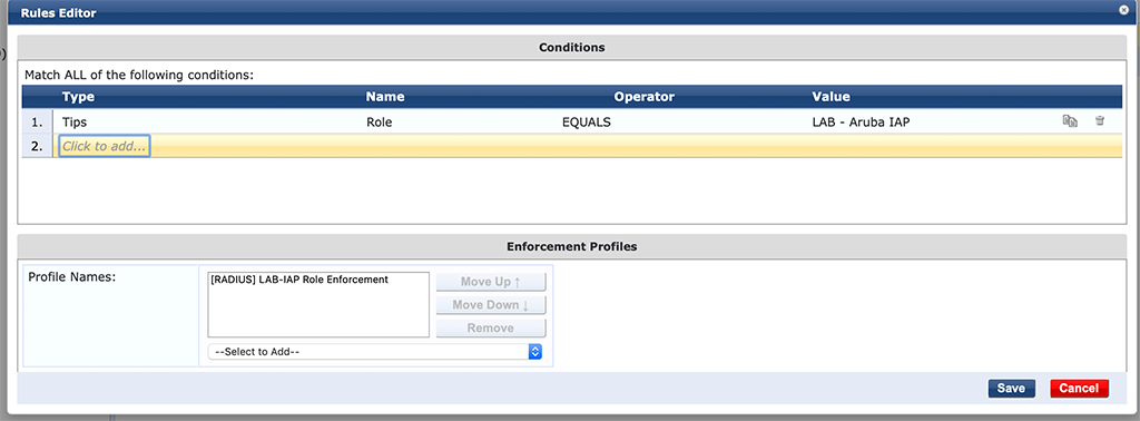 Instant AP Authentication - Add Enforcement Policy Rules with Role Profile