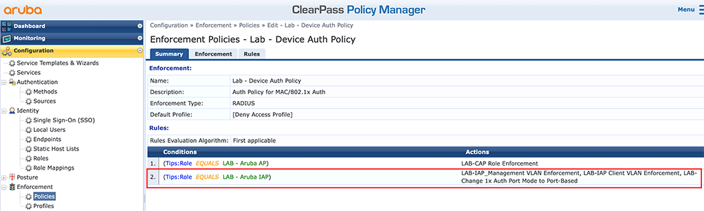 Instant AP Authentication - Add Enforcement Policy