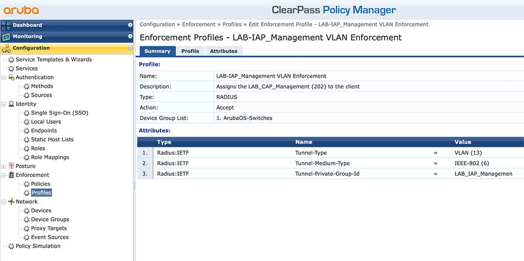 Instant AP Authentication - Add IAP VLAN Enforcement Profile