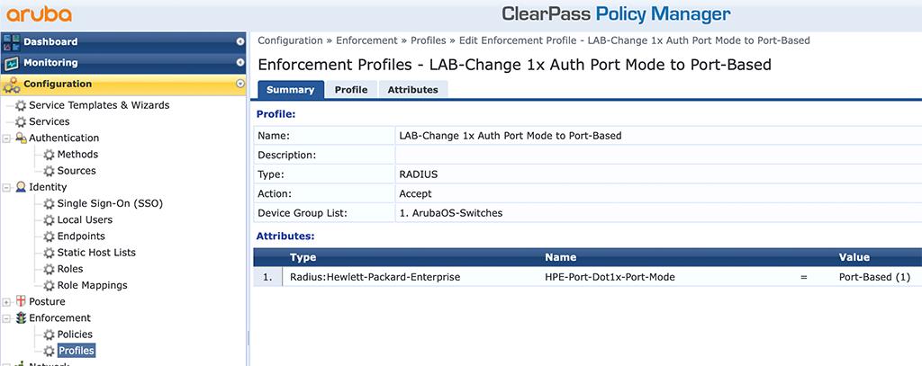 Instant AP Authentication - Add Port DOT1x Mode Enforcement Profile