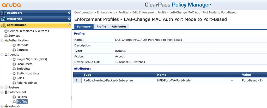 Instant AP Authentication - Add Port Mode Enforcement Profile