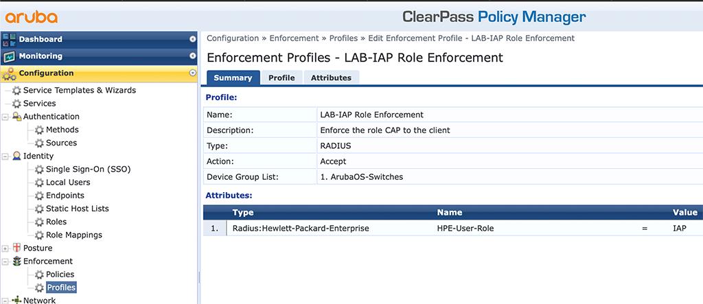 Instant AP Authentication - Add Role Enforcement Profile