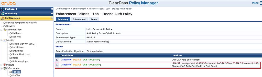 Instant AP Authentication - Modify Enforcement Policy