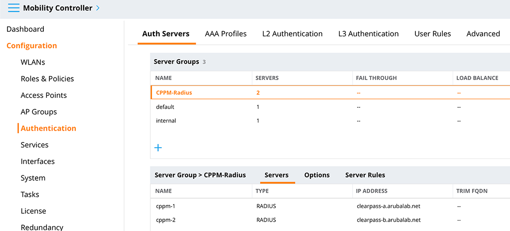 Aruba VIA VPN - Add Radius Servers