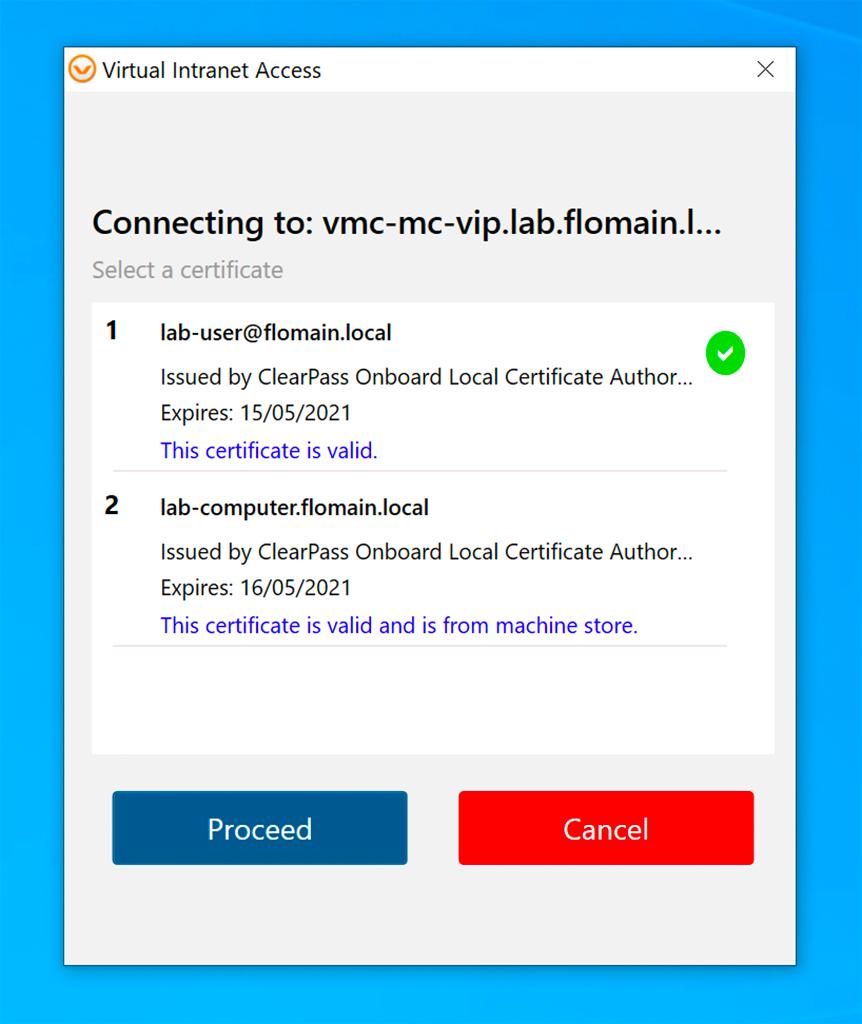 Aruba VIA VPN - Certificate Selection Screen