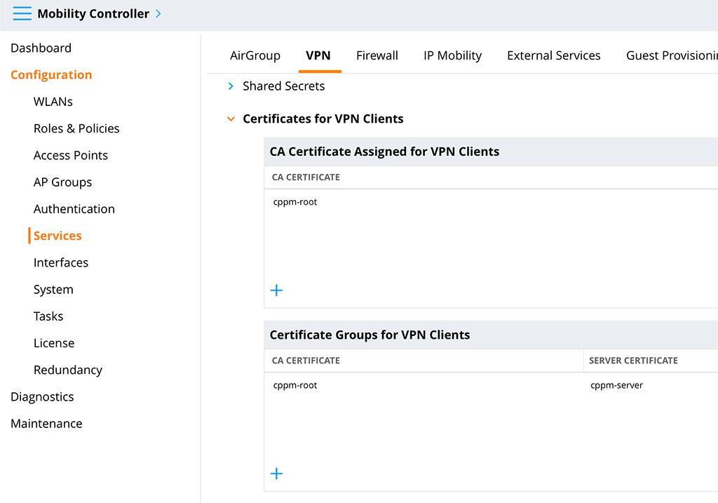 Aruba VIA VPN - Certificate for VPN Clients