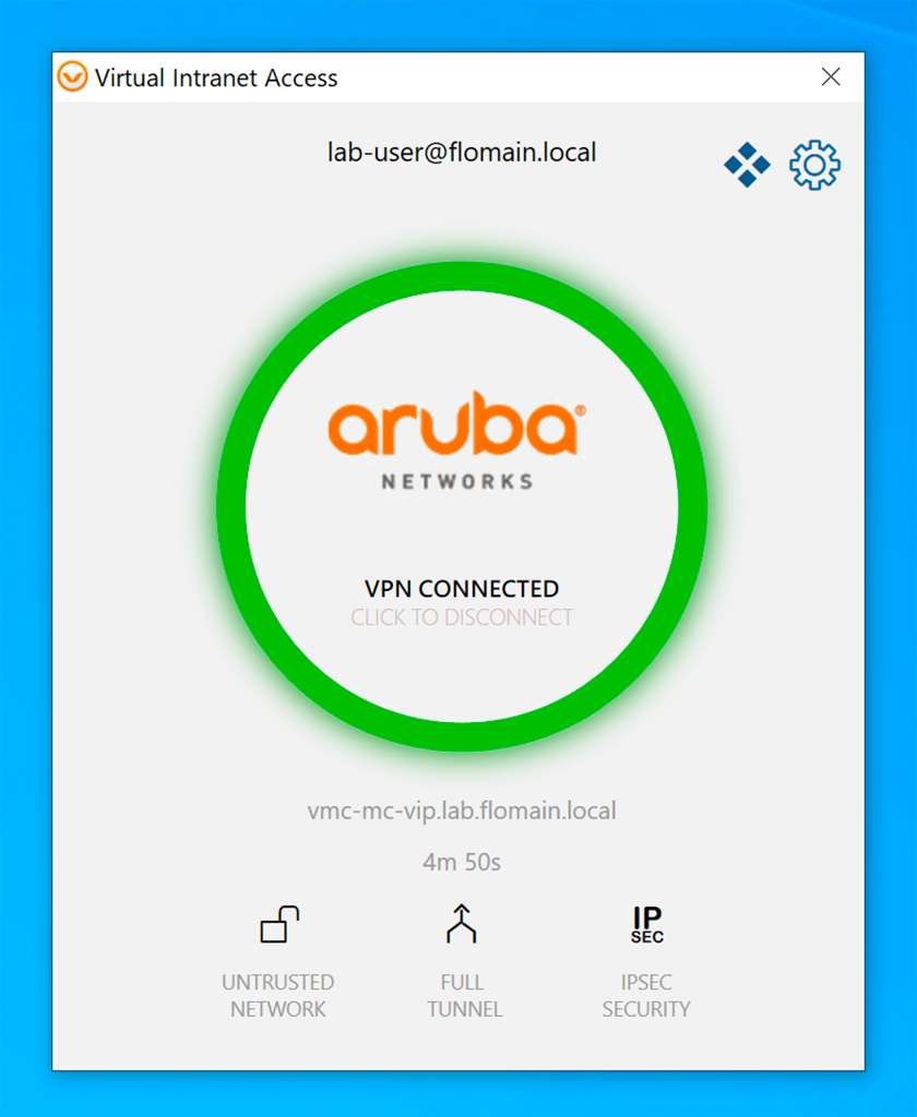 Aruba VIA VPN - Successful VPN Connection
