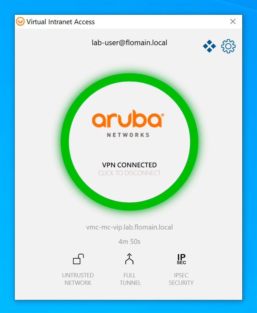 Aruba VIA VPN - Successful VPN Connection