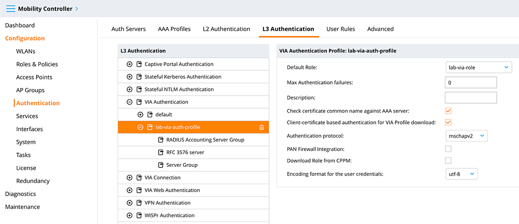 Aruba VIA VPN - VIA Authentication Profile