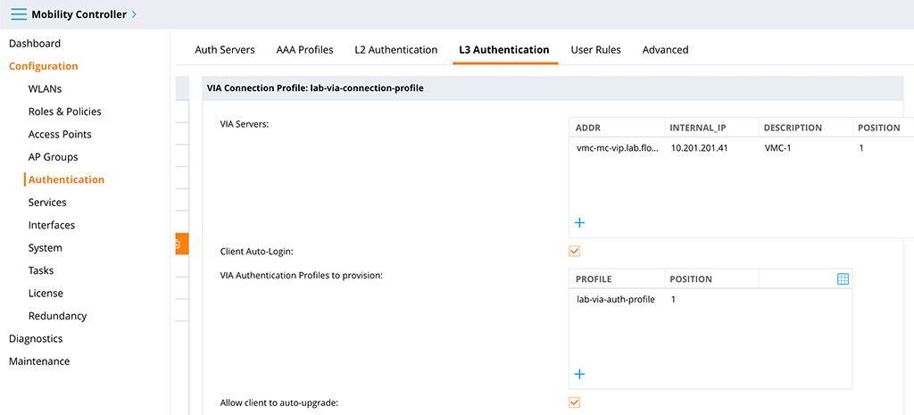 Aruba VIA VPN - VIA Connection Profile Part 1